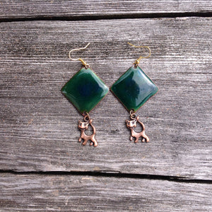 Dangle Green Enameled Forged Copper Earrings