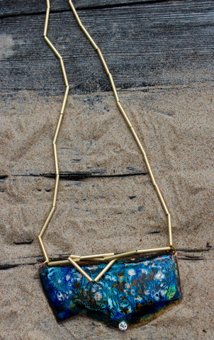 Enamel on Copper necklace ''Sea breeze''