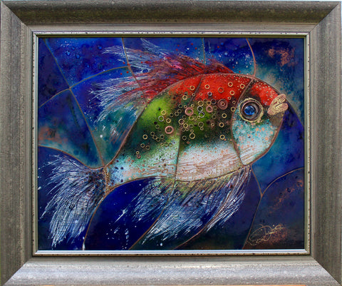 Original Blue Enamel Painting ''Fish'' 54x64cm