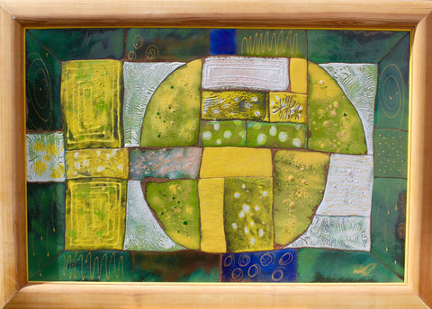 Original Yellow Green Enamel Painting ''Spring'' 116x82cm
