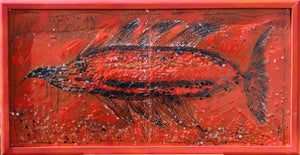 Original Red Enamel Painting ''Orange Fish'' 56x106cm