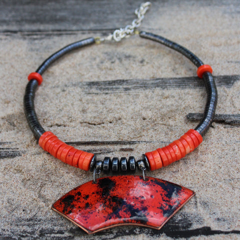 Enamel on Copper choker ''Red Mist''