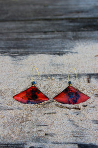 Red Enemel on Copper Earrings