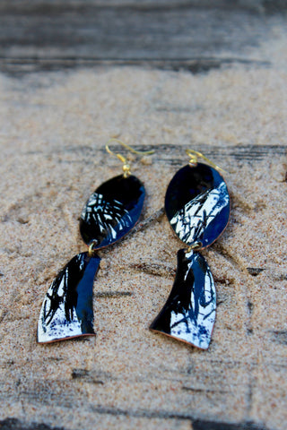 Blue White Enamel on Copper Earrings