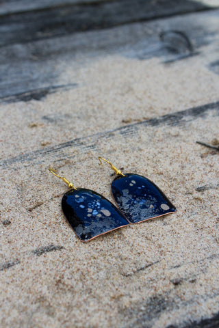 Blue Enamel on Copper Earrings