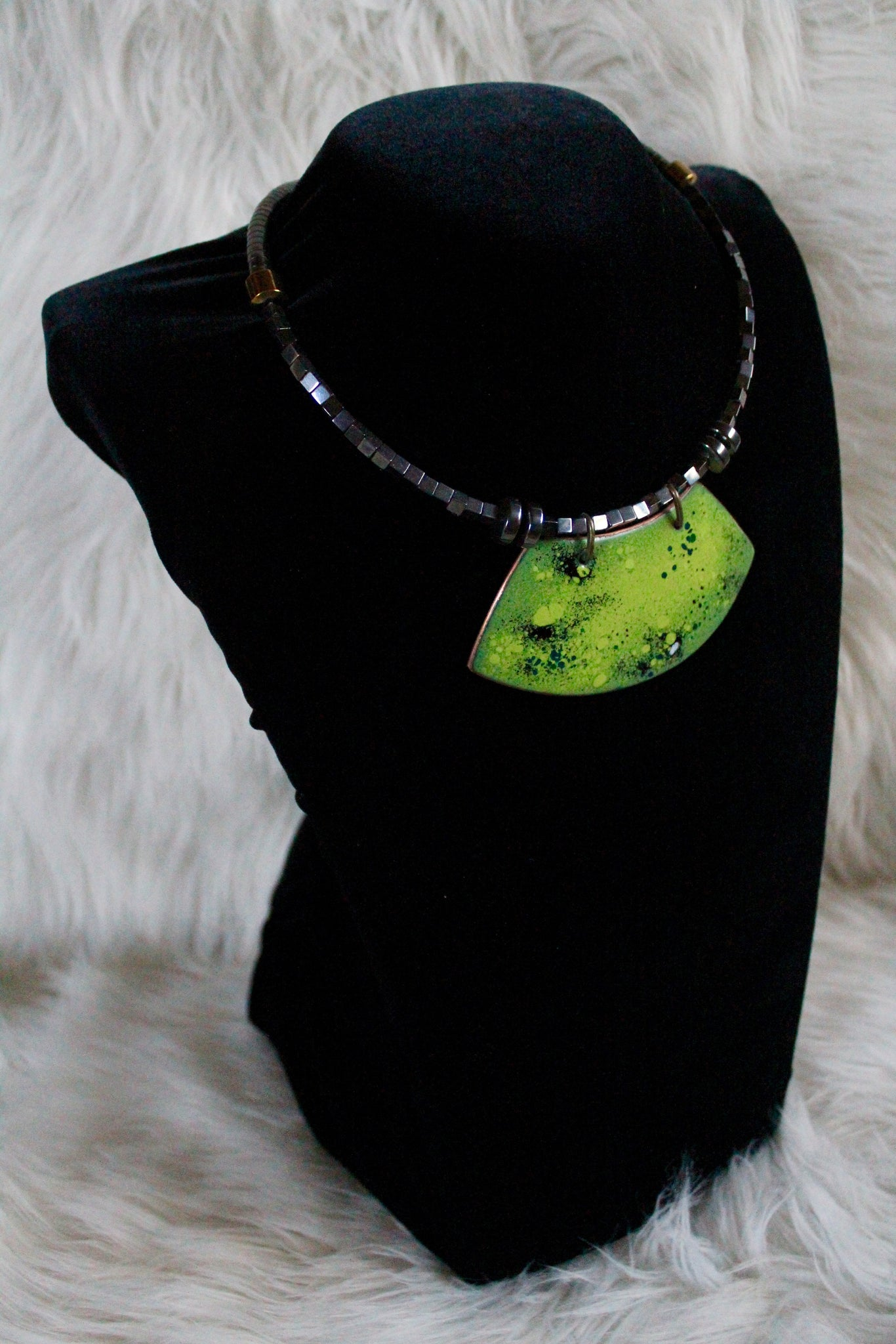 Enamel on Copper Choker ''Green collection''