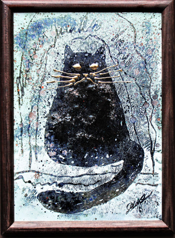 "Small Unique Enamel Painting ""Black Cat In Snow"" 13 x 18cm"