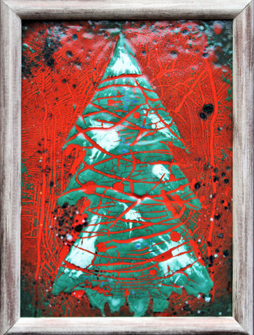 "Small Unique Enamel Painting ""Red Christmas Tree"" 14 x 18cm"
