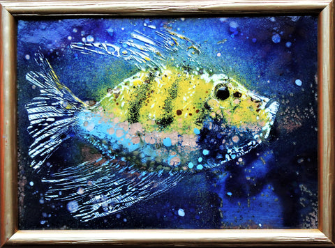 "Small Unique Enamel Painting ""Lucky Fish"" 16 x 22cm"