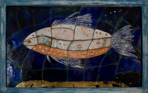 Original Blue Gold Enamel Painting ''Fish in the Deep'' 73x116cm