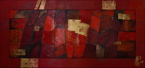 Original Large Enamel Painting ''Red'' 170x82cm