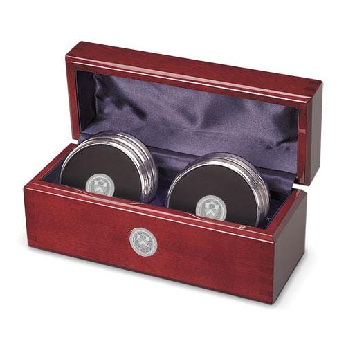 Princeton Medallion Brass/Leather Coasters - Rosewood Box (Set of 6)