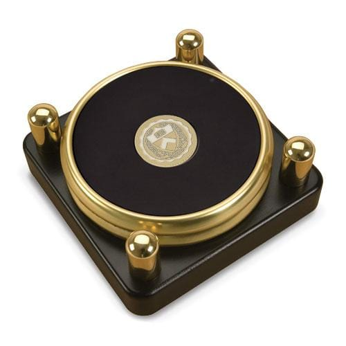 Princeton Medallion Brass/Leather Coasters - Posted Stand (Set of 2)