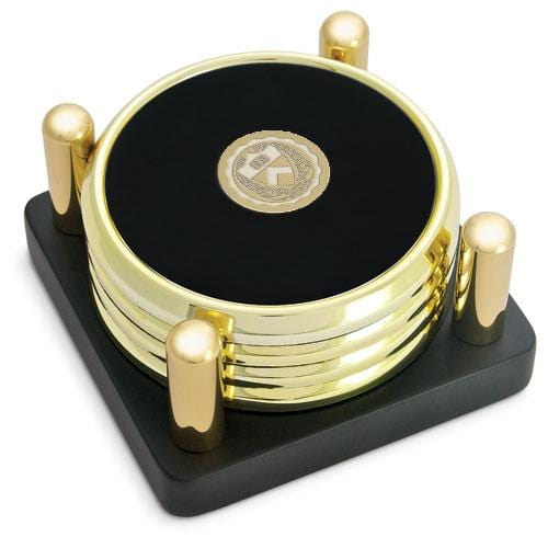 Princeton Medallion Brass/Leather Coasters - Posted Stand (Set of 4)