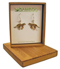Bamboo Silver Cloisonne Enamel Tiger Dangle Earrings
