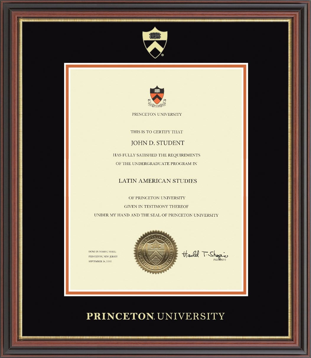 Certificate Frame Vertical The Princeton University Store