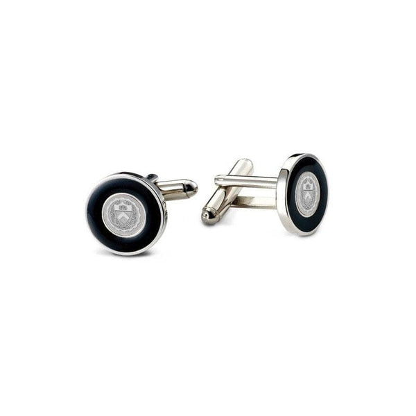 Round Black Enamel Cuff links