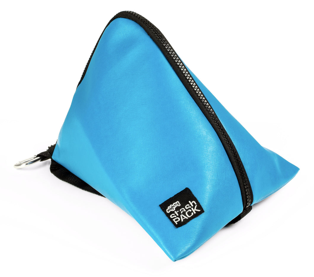 Insulated lunch bag. Sky Blue. Folds flat for easy storage and maximum capacity. The Mighty Stash Pack is used for travel, gym, road trips, and meals. Buy yours for $19.95.