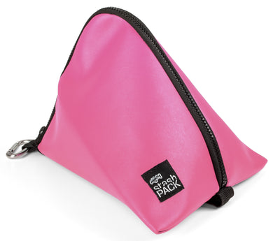 Insulated lunch bag. Pink. Folds flat for easy storage and maximum capacity. The Mighty Stash Pack is used for travel, gym, road trips, and meals. Buy yours for $19.95.