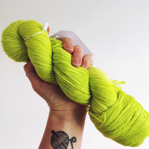 Tennis Ball - Hand dyed 4ply/sock yarn 100g/425m superwash merino, nylon blend