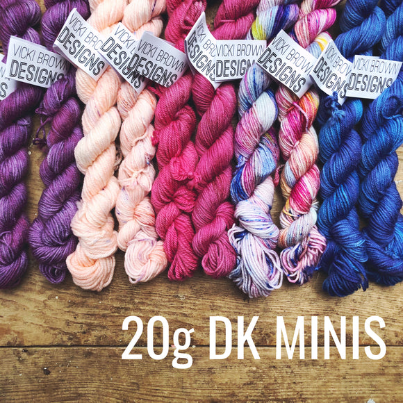 DK MINIS - Hand dyed double knit yarn 20g/45m superwash merino, nylon blend