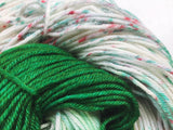 Peppermint Bark (green) - Hand dyed DK yarn 100g/225m superwash merino