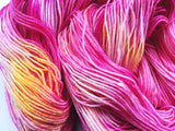 Flamingos- Hand dyed 4ply/sock yarn 100g/425m superwash merino, nylon blend