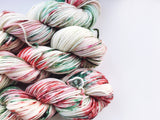 Mistletoe and Wine - Hand dyed-  DK - yarn - 100g/225m - superwash merino - nylon - sparkle