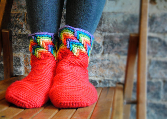 Crochet Pattern - Rainbow Slipper Socks