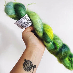 Green Fairy - Hand dyed - lace weight yarn - 50g/420m - kid mohair - silk