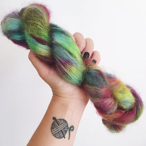 Stormy Rainbow - Hand dyed - lace weight yarn - 50g/420m - kid mohair - silk