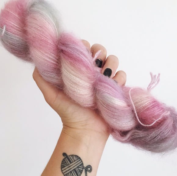 Roses for Emily - Hand dyed - lace weight yarn - 50g/420m - kid mohair - silk