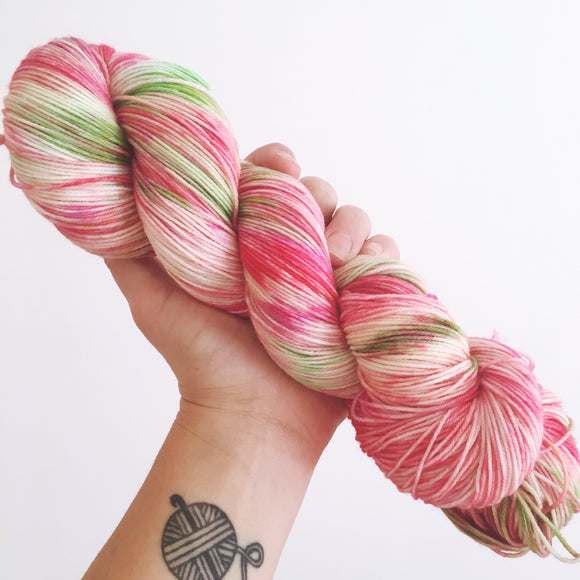 Strawberries - Hand dyed 4ply/sock yarn 100g/425m superwash merino, nylon blend