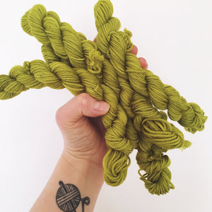 Olive - Hand dyed Double Knit 20g/45m superwash merino, nylon blend