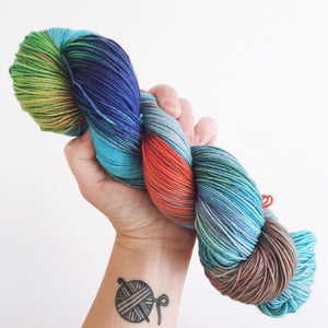 Rainbow Dash - Hand dyed 4ply/sock yarn 100g/425m superwash merino, nylon blend