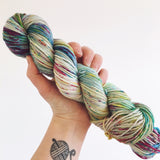 Stormclouds and Rainbows - Hand dyed DK yarn 100g/225M superwash merino