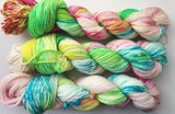 Rainbow Ice - Hand dyed DK yarn 100g/225M superwash merino