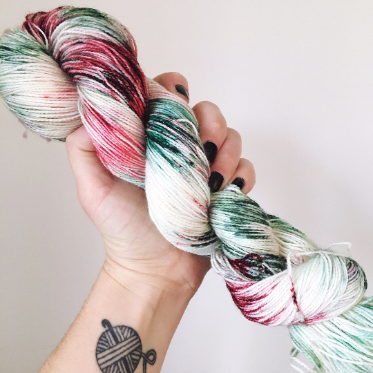 Mistletoe and Wine - Hand dyed - 4ply/sock yarn - 100g/400m - superwash merino - nylon - sparkle