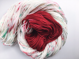 Peppermint Bark - Red - Hand dyed DK yarn 100g/225M superwash merino