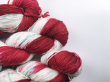 Peppermint Bark - Red - Hand dyed - 4ply/sock yarn - 100g/400m - superwash merino - nylon - sparkle