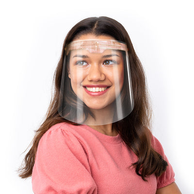 Premium Face Shield with Translucent Blush Plastic Headpiece (Single)
