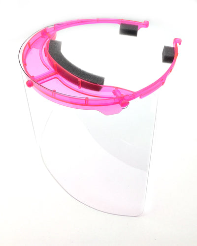 Premium Face Shield with Translucent Pink Plastic Headpiece (Single)