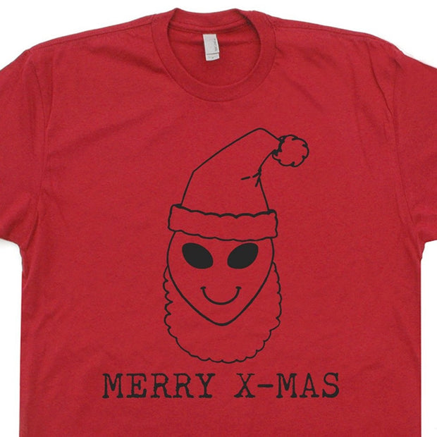 Newest Funny Santa Clause Alien T Shirts Merry Xmas X-files