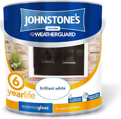 JOHNSTONE`S WEATHERGUARD EXTERIOR GLOSS BRILLIANT WHITE 0.75L SALE