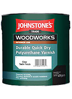 0.75LTR JOHNSTONE`S WOODWORKS QUICK DRY POLYURETHANE VARNISH CLEAR SATIN