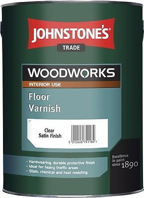 2.5 LTR JOHNSTONE`S WOODWORKS POLYURETHANE FLOOR VARNISH CLEAR GLOSS