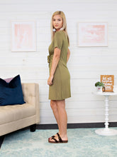 Tie Front Dress - Olive