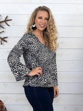 Gray Animal Print Top