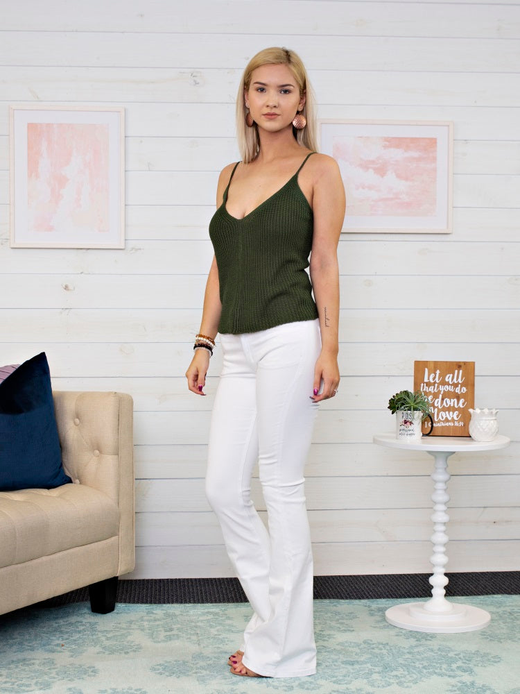 Olive Knit Tank Top