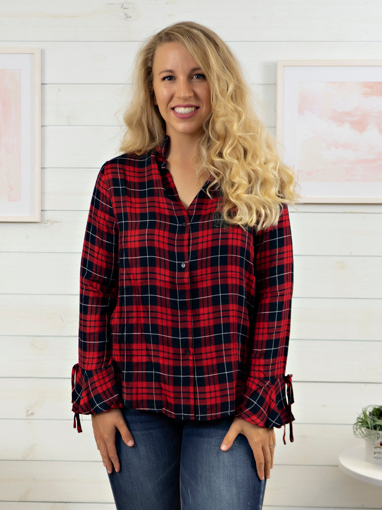 Plaid Button Down with Flare Sleeve